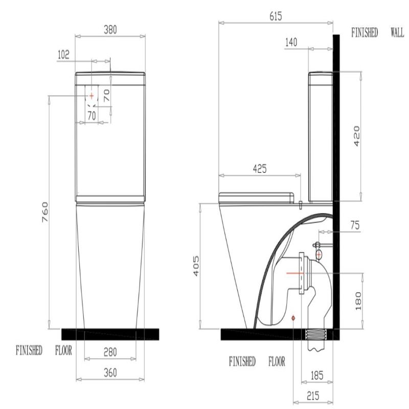 Capri Rimless Back To Wall Toilet Suite