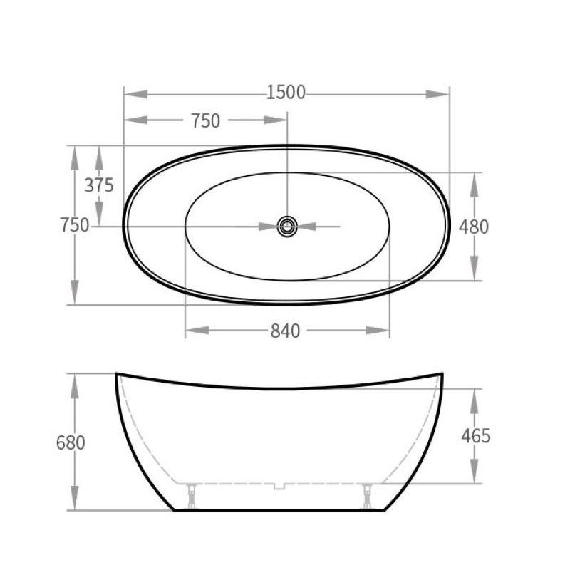 Corfu 1500 Freestanding White Bath