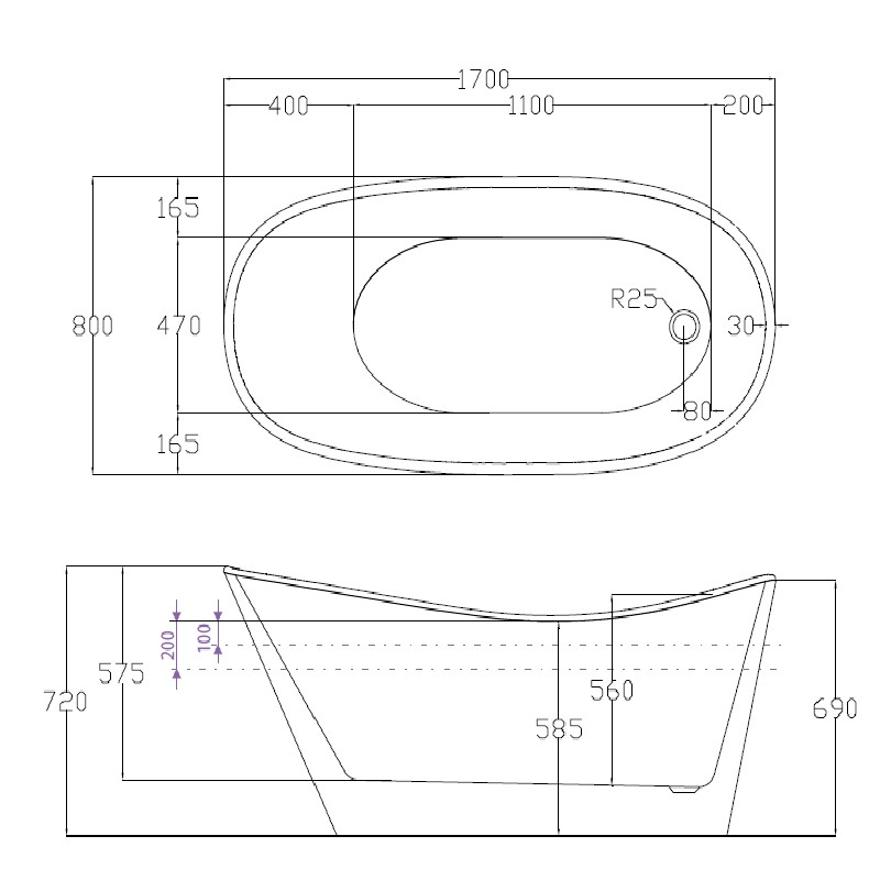 Decina Pisa 1700 Freestanding White Bath