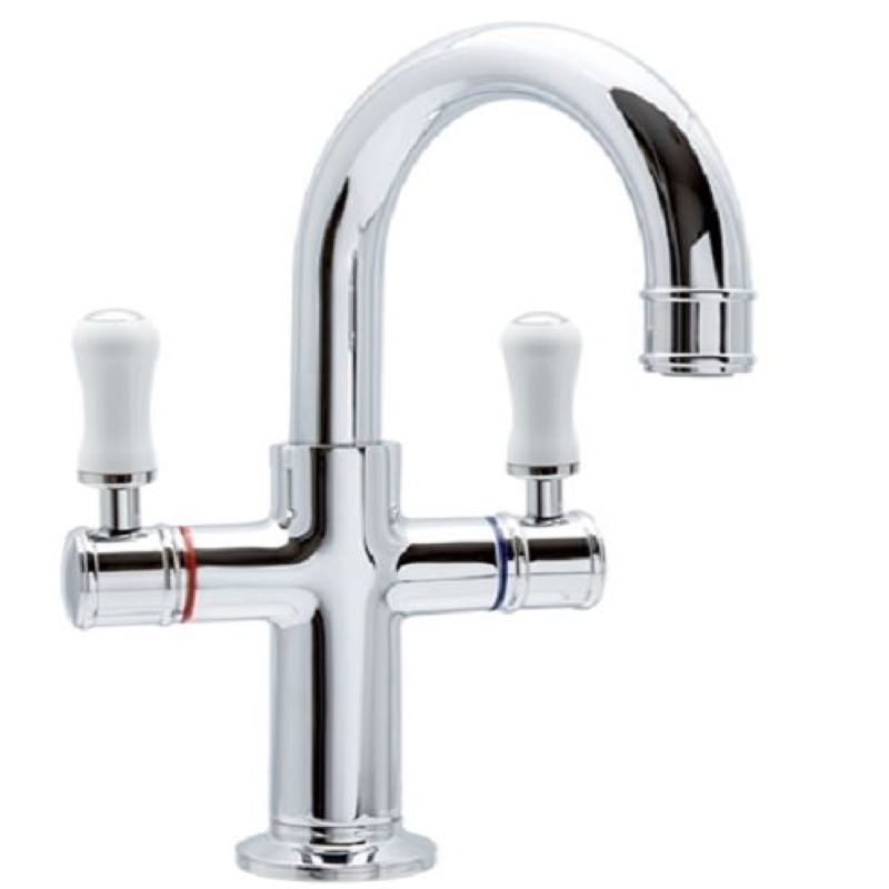 Ewing Hampton Basin Twinner Mixer Chrome with White Handle