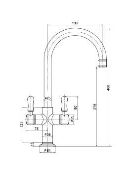 Ewing Hampton Sink Twinner Mixer Chrome with White Handle