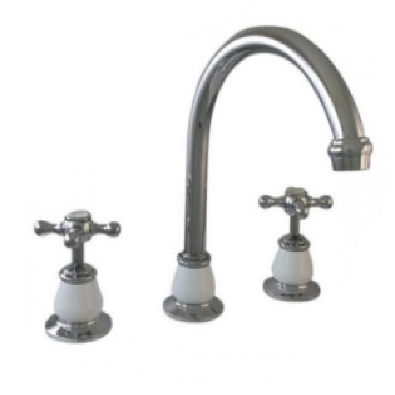 Ewing Pasadena Hob Sink Set Chrome with White Bell Flange