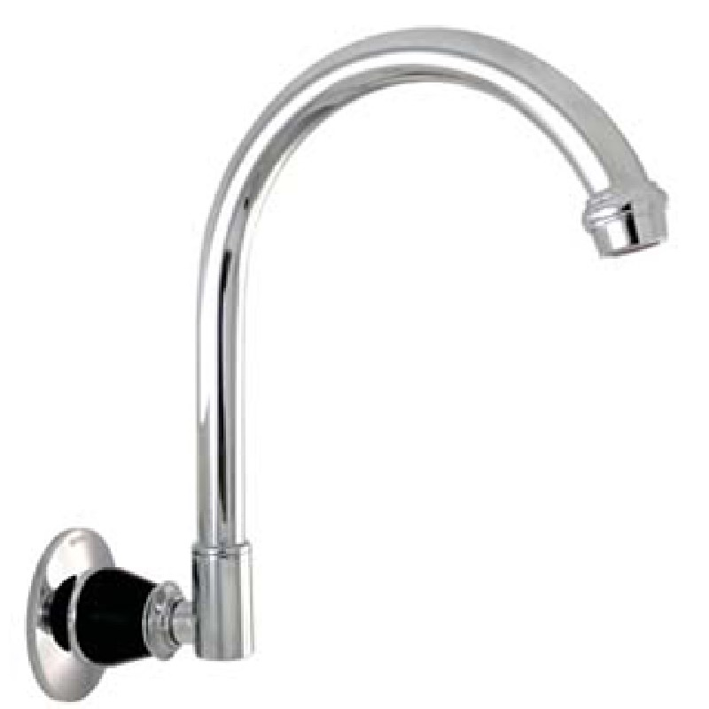 Ewing Pasadena Wall Spout Chrome with Black Bell Flange