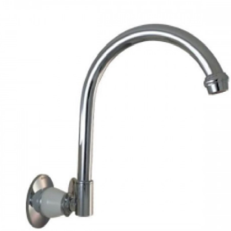 Ewing Pasadena Wall Spout Chrome with White Bell Flange