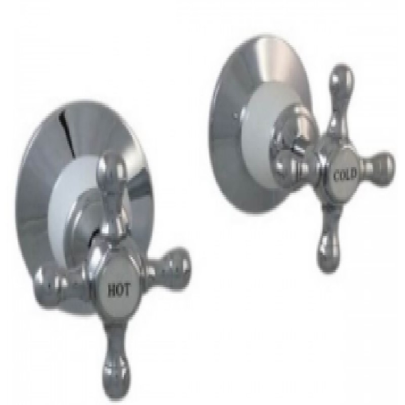 Ewing Pasadena Wall Top Assembly (Pair) Chrome with White Bell Flange