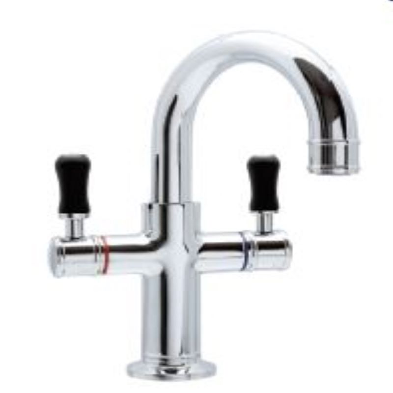 Ewing Pepper Twinner Basin Mixer Chrome with Black Handle