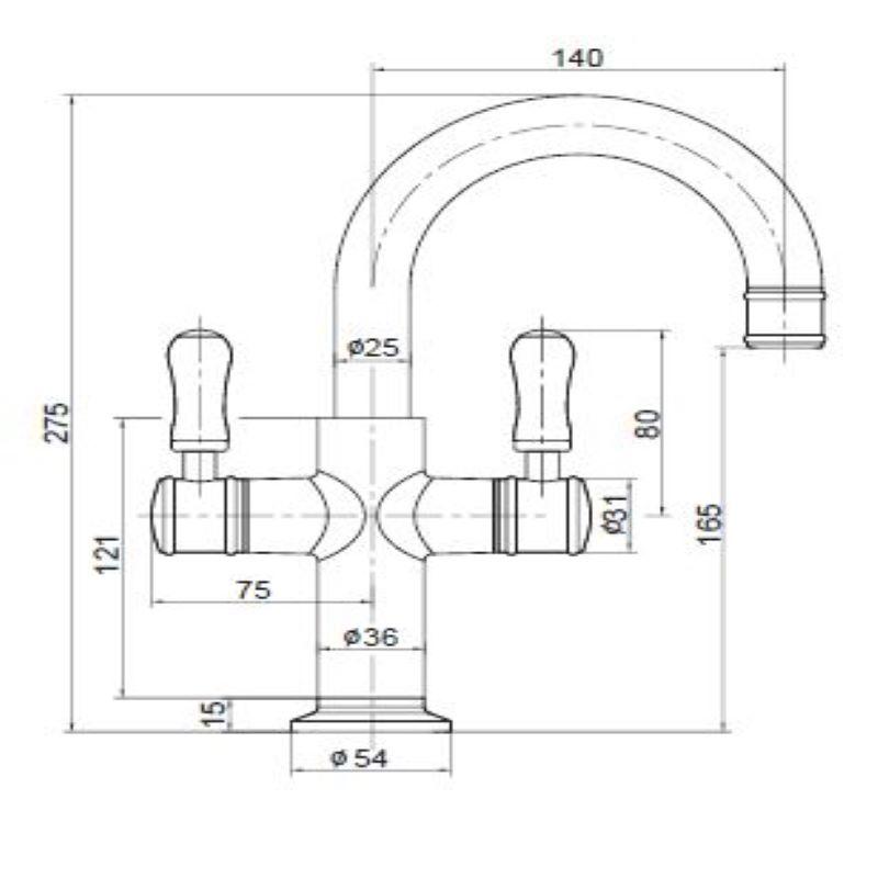 Ewing Sylva Twinner Basin Mixer Chrome Handle