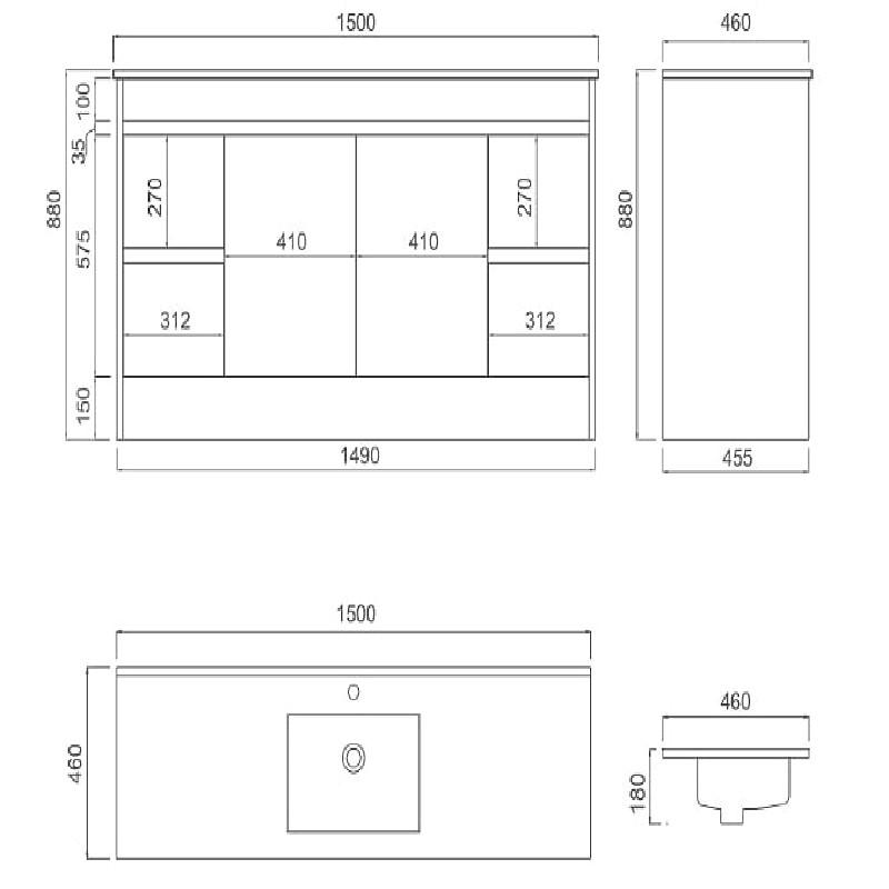 IIon PVC 1500mm Single Bowl Vanity