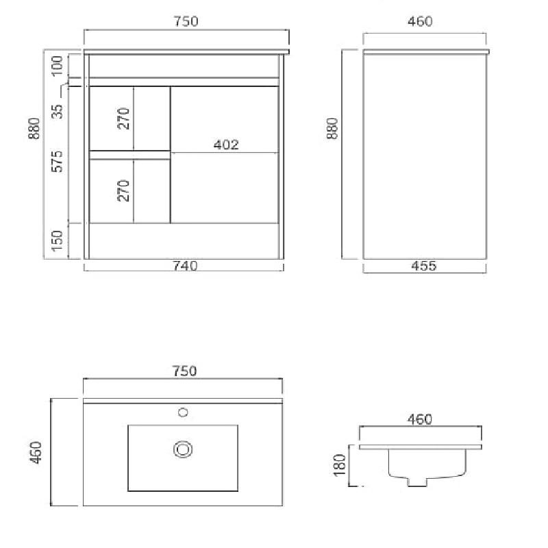IIon PVC 750mm Left Hand Drawer Vanity