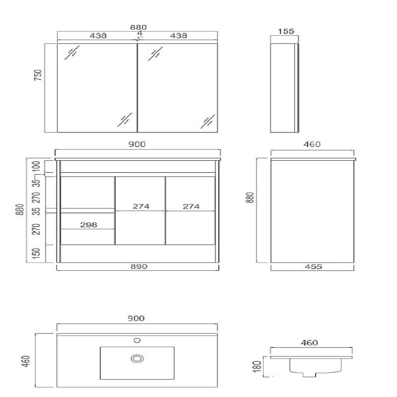 IIon PVC 900mm Left Hand Drawer Vanity