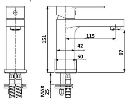 Millennium Akemi Tall Basin Mixer Brushed Nickel