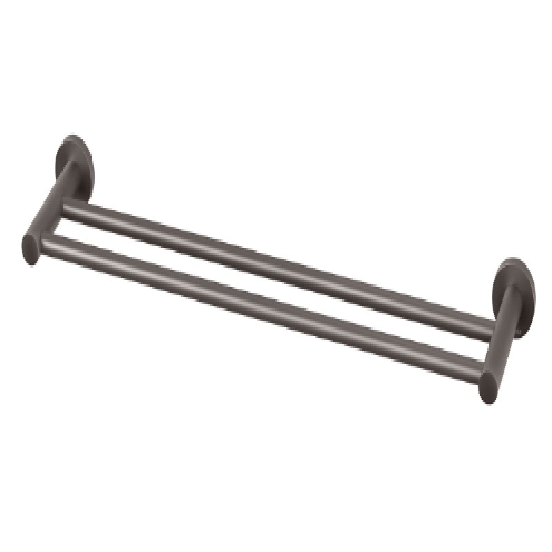 RADII DOUBLE TOWEL RAIL 800MM ROUND PLATE GUN METAL