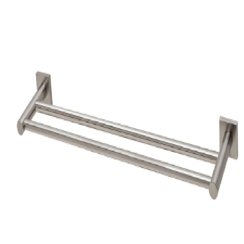 RADII DOUBLE TOWEL RAIL 800MM SQUARE PLATE BRUSHED NICKEL