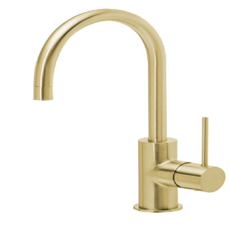 VIVID SLIMLINE 160MM GOOSENECK SINK MIXER BRUSHED GOLD