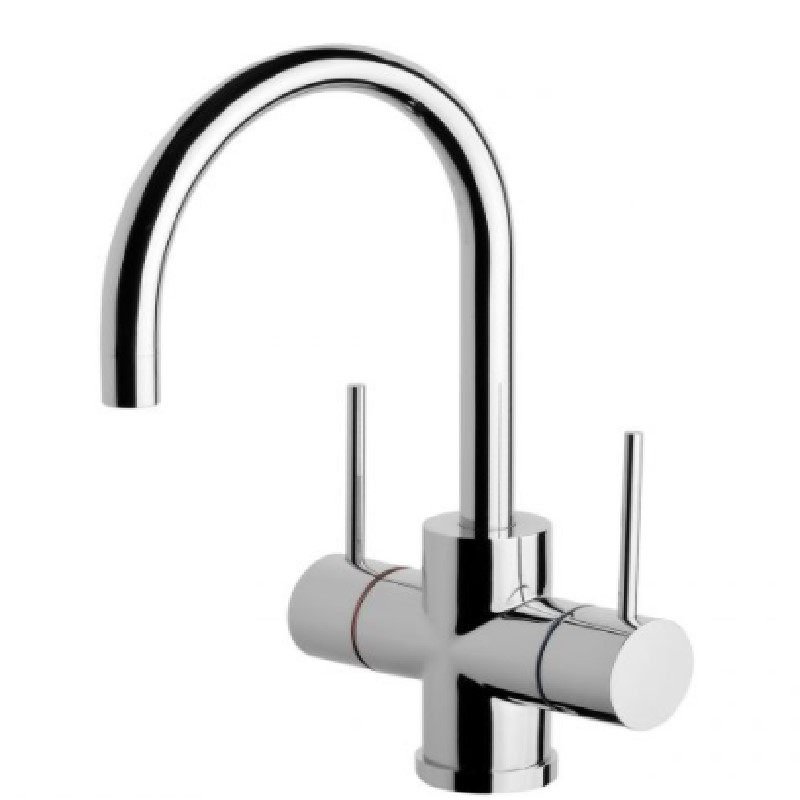 VIVID SLIMLINE TWIN HANDLE 160MM GOOSENECK SINK MIXER CHROME