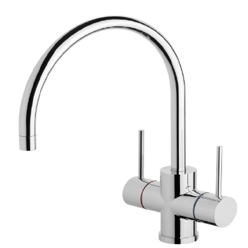 VIVID SLIMLINE TWIN HANDLE 220MM GOOSENECK SINK MIXER CHROME