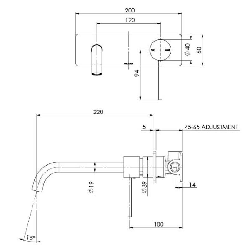 VIVID SLIMLINE BATH WALL MIXER 230MM  CURVED SPOUT CHROME