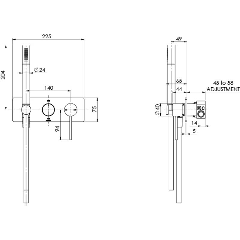 VIVID SLIMLINE WALL SHOWER SYSTEM MATTE BLACK